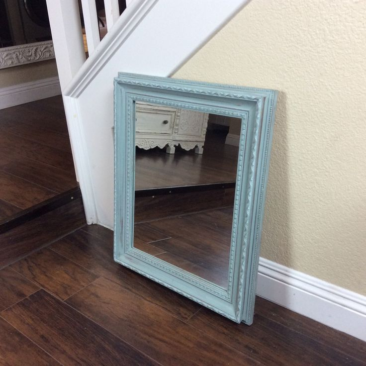 PRETTY FRAMED MIRROR, Blue Mirror, Wall Mirror, Beach Cottage Mirror, Ornate ,Cottage Chic, Shabby Chic, Framed Mirror, Nursery Decor - pinned by pin4etsy.com