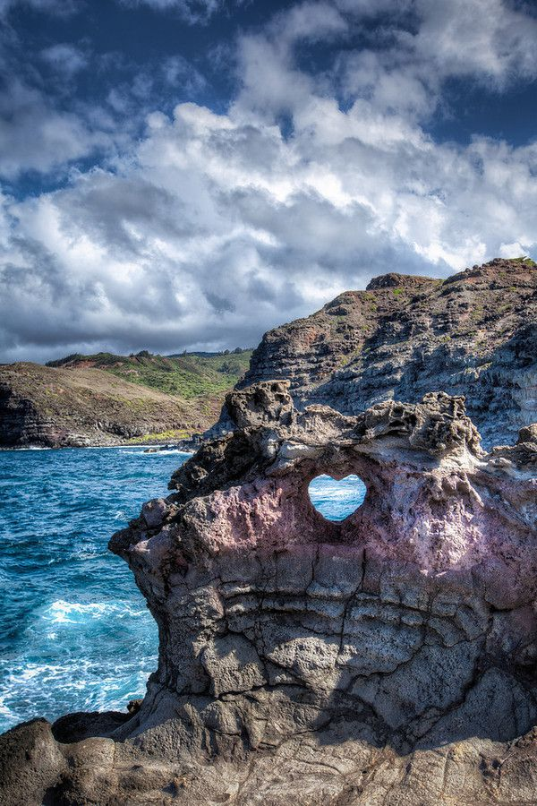 Though it sounds like it's a bit of a challenge to get to, seeing this beautiful rock formation, and its heart-shaped blowhole (whether nature's handiwork or formed with the help of human hands), up close and in person would be well worth the effort! Nakalele Blowhole, Kahului, Maui, Hawaii. Photo by W. Brian Duncan.