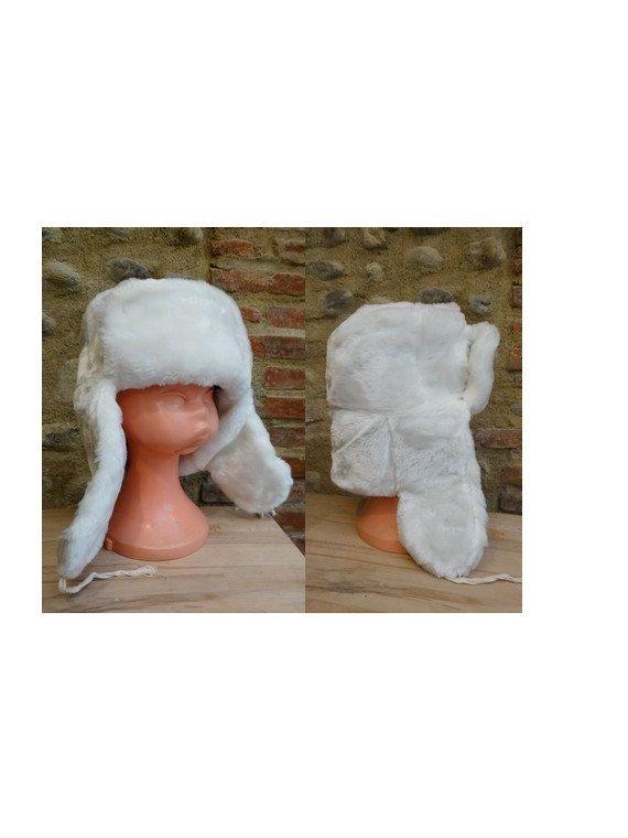 Vintage white faux  Fur Trapper Hat // Russian Winter  Steampunk Trapper // vegan