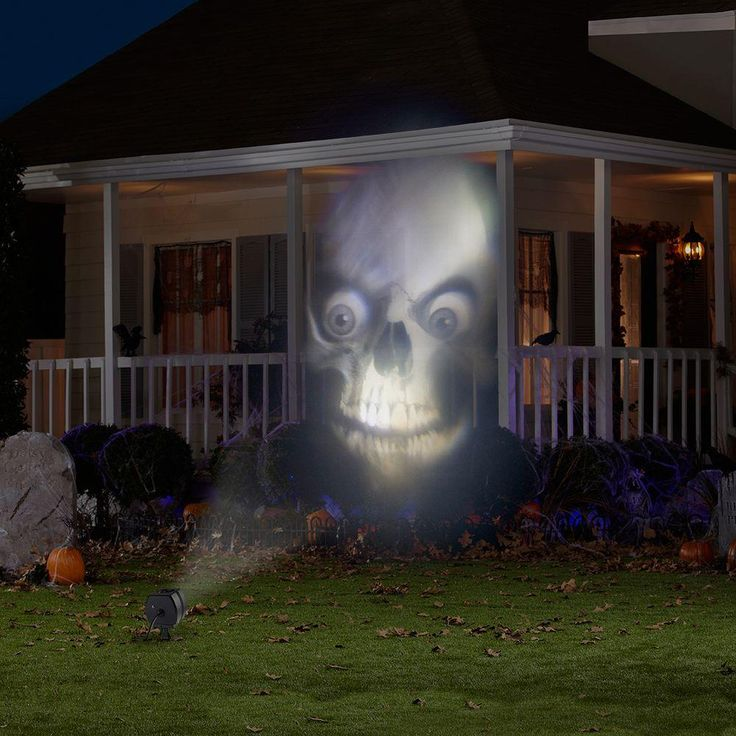 This light show projector is great for your spooky outdoor Halloween display. Project animated images of scary faces onto your home or flat surface. The projector rotates between six different images to create an eerie light show.
