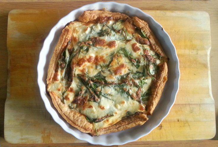 Jummmmmm, quiche met spinazie en blauwe kaas
