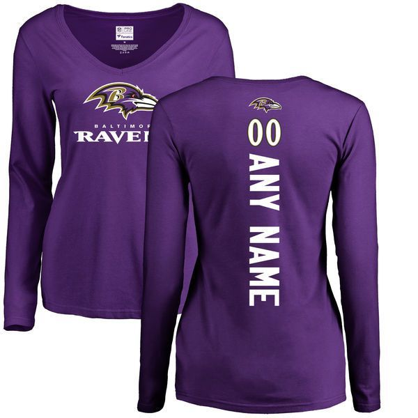Women Baltimore Ravens NFL Pro Line Purple Custom Backer Slim Fit Long  Sleeve T-Shirt b9aabd19e