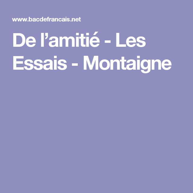 essays michel de montaigne analyse combinatoire