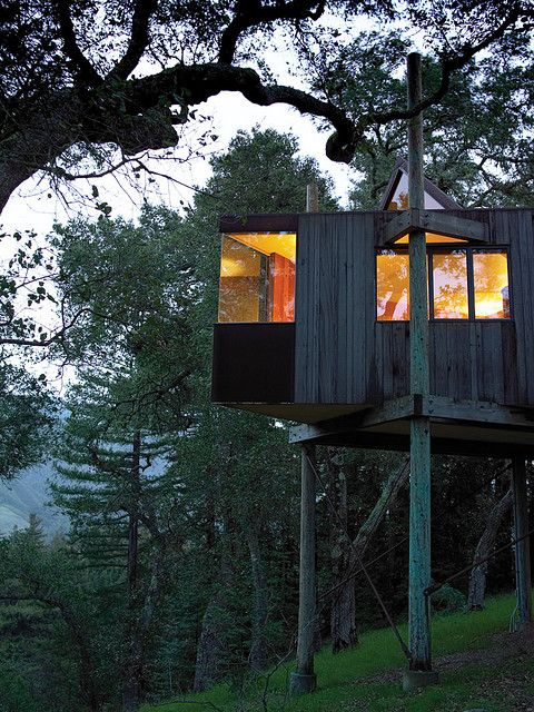 Modern architecture meets child's fantasy treehouse at Post Ranch Inn in Big Sur. The most gorgeous Pacific coastline.