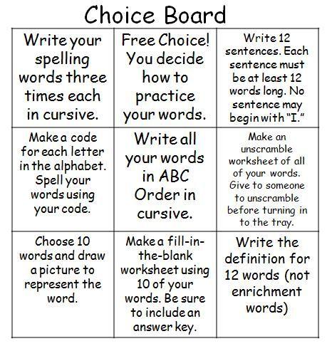 Best School  TicTacToe Boards Images On   Spelling