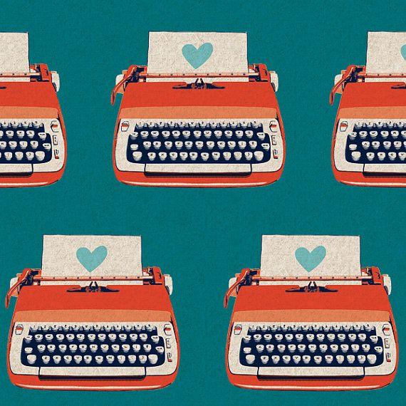 Melody Miller FABRIC - Ruby Star Shining - Typewriters - NeutralMelody Miller, Typewriters Fabrics, Blue, Vintage Offices, Vintage Typewriters, Dallas Cowboy, Ruby Stars, Blood Orange, Stars Shinee