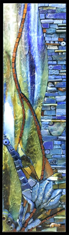 stained glass then mosaic parts made from that glass-combine with furniture tops/pieces- thought provoking