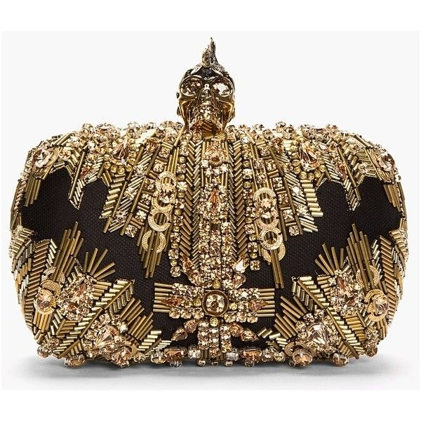 Pre-owned Alexander Mcqueen Skull Box Clutch ($2,396) ❤ liked on Polyvore featuring bags, handbags, clutches, bolsas, gold, alexander mcqueen, pre owned purses, alexander mcqueen purse, beaded clutches и brown handbags