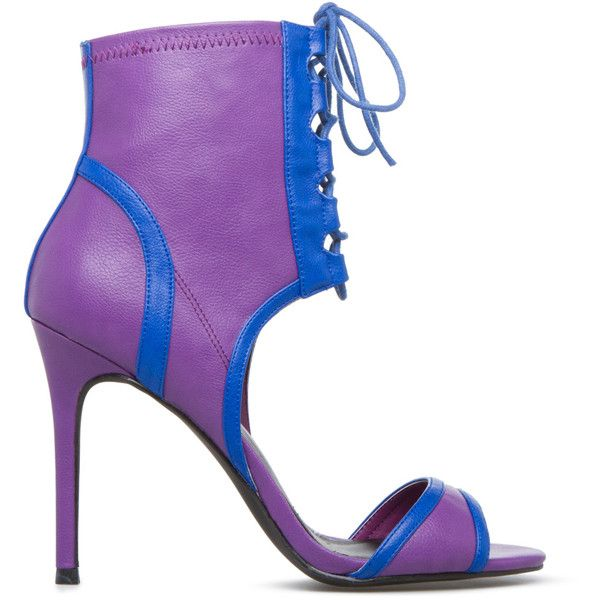 ShoeDazzle Sandals-Dressy - Single Sole Carleigh Womens Purple featuring polyvore, women's fashion, shoes, sandals, purple, sandals-dressy - single sole, purple dress sandals, fancy shoes, dressy sandals, lace up shoes and dressy shoes