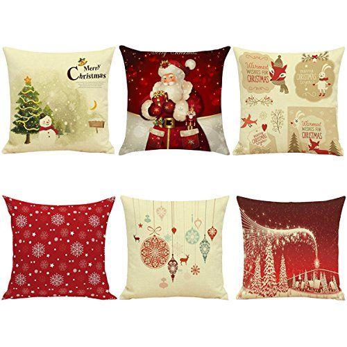 hoomall lot de 6 housses de coussin decoration no l lit. Black Bedroom Furniture Sets. Home Design Ideas
