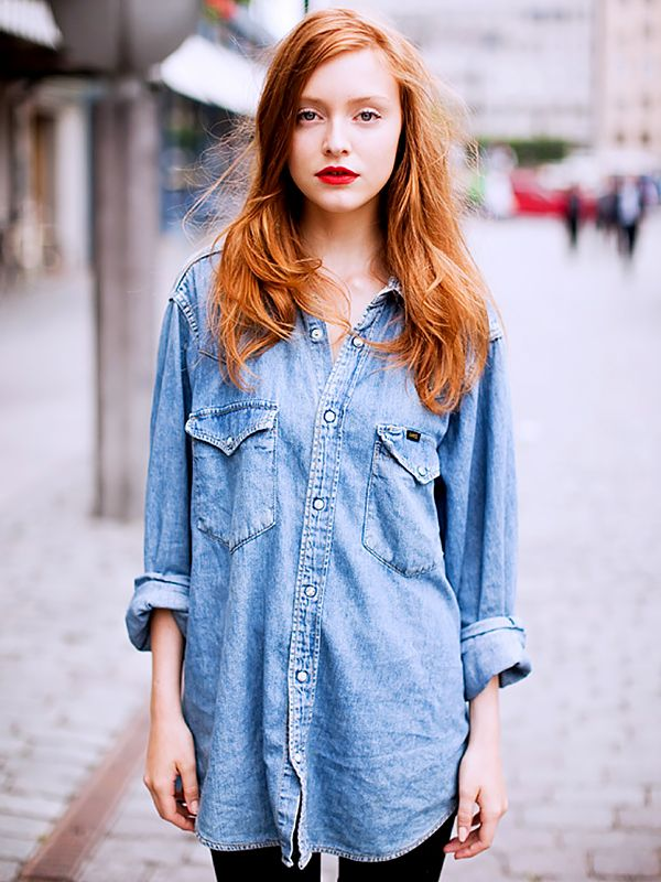 Oversized denim shirt with a bright red lip