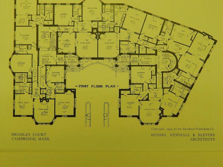 floor plans  bromley court  cambridge  ma  1909  original Small 4-Bedroom Single Story Floor Plans 4 Bedroom House Floor Plans