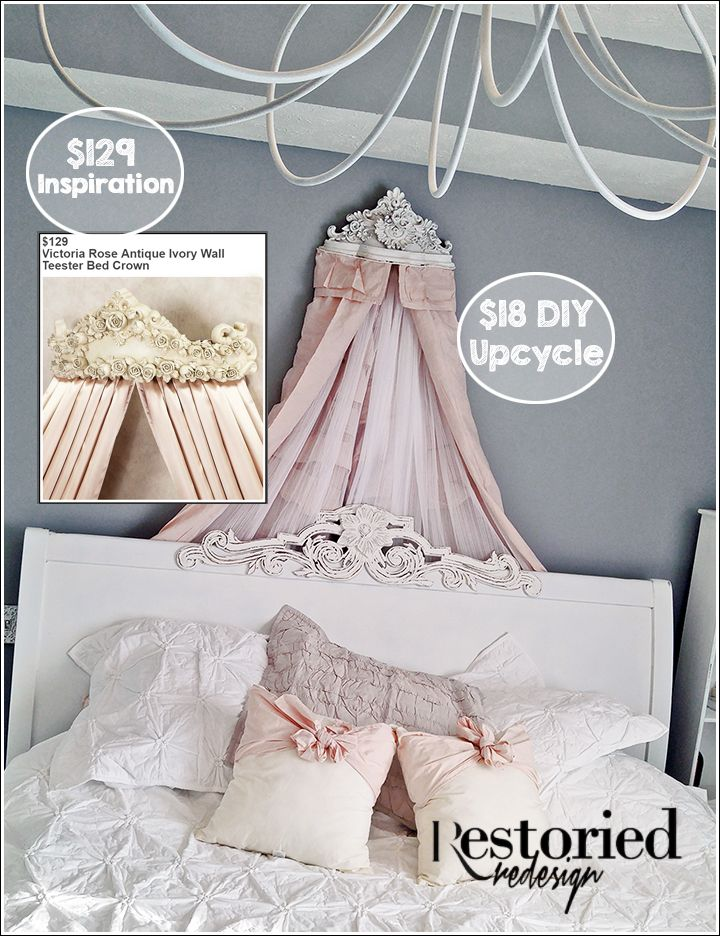 My Hobby Lobby shelf to BED CROWN DIY upcycle. ~Restoried Redesign