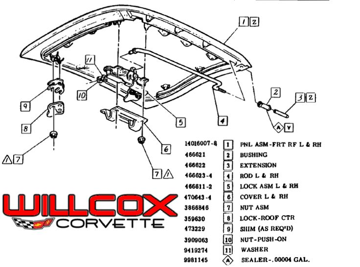 19781982 Corvette Glass Roof Panel (ttop) exploded view