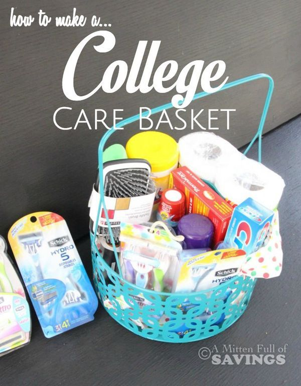 How to make a College Care Basket: Here's a list of essentials that would be perfect for a College Care Basket. Be sure to click through to read how!! A Mitten Full of Savings