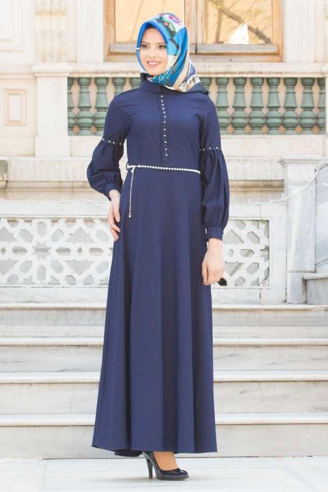 NAYLA COLLECTION - Nayla Collection - Kolları Büzgülü Lacivert Tesettür Elbise 6641L