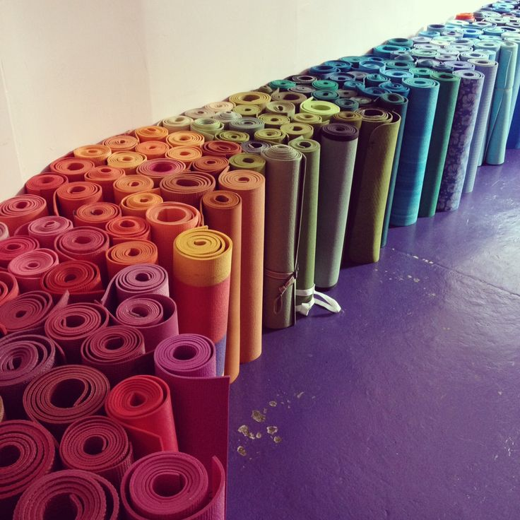 theelephantflies:    When PSYC moved across the street to Devi, they organized all the mats they moved by color to make it easier for people to find their mats.: Yoga Rainbow, Colour, Mat Rainbow, Life, Colors, Yoga Meditation, Rainbows, Yoga Mats, Rainbow Yoga