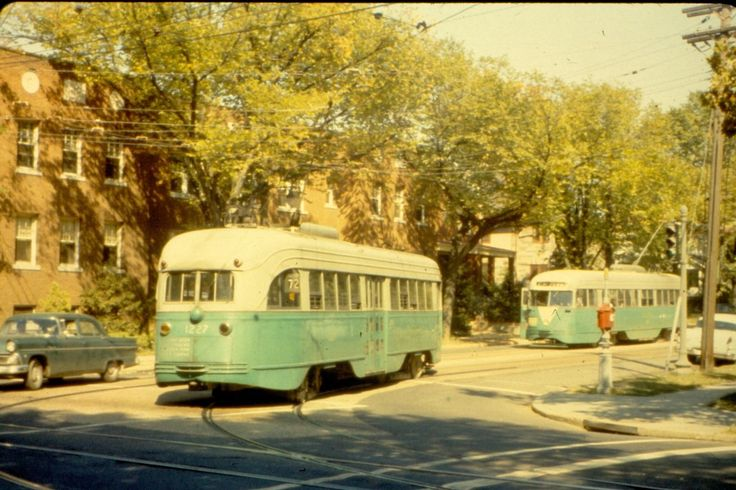 DC Transit PCCs on Route 72 (1960).