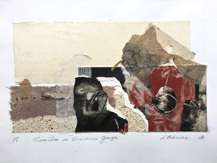 ELAINE d'ESTERRE - Timeline in Brachina Gorge 1, 2016, etching collage, 30x42 cm. Also at http://elainedesterreart.com/ and http://www.facebook.com/elainedesterreart/ and http://instagram.com/desterreart/