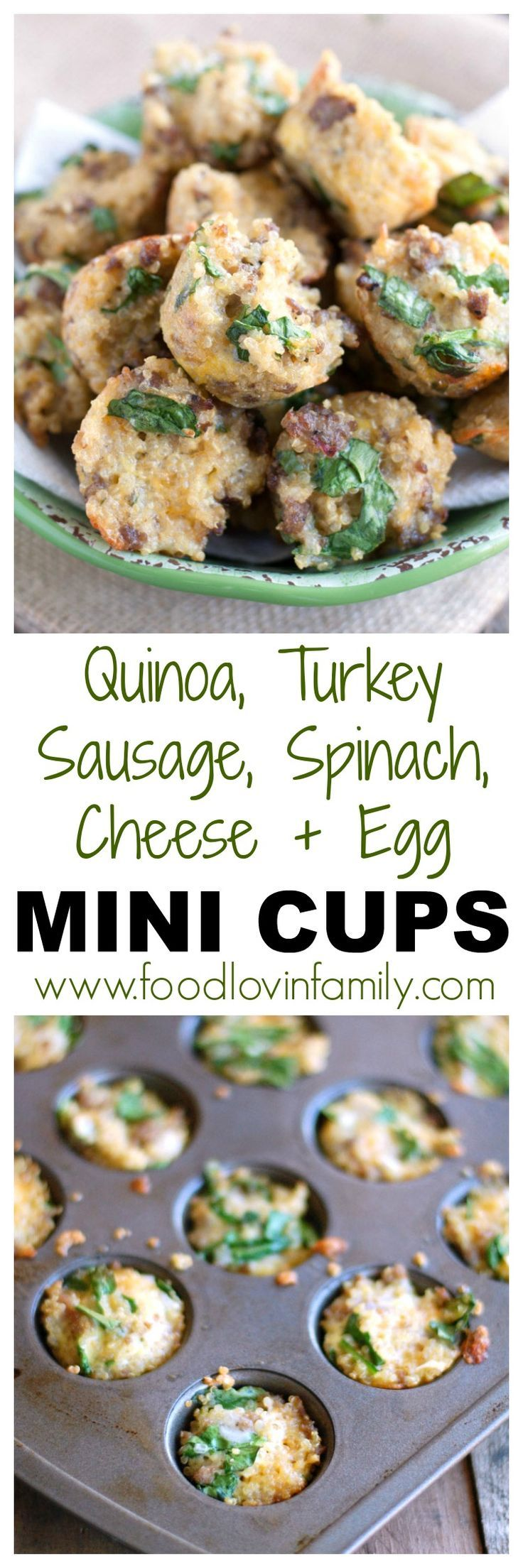 Quinoa, Turkey Sausage, Spinach, Egg, Cheese Mini Cups | breakfast bites| Quinoa| breakfast muffin| These quinoa mini cups make a great portable breakfast. Make them ahead of time and have them all week. http://www.foodlovinfamily.com/quinoa-turkey-sausag