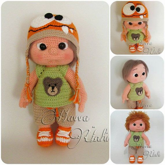 PATTERN Kid With Monster Hat crochet amigurumi por HavvaDesigns, $12.00