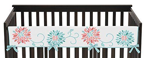 Baby Crib Long Rail Guard Cover for Modern Turquoise and Coral Emma Bedding