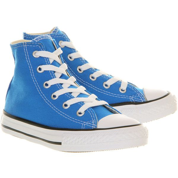 Converse Small Star Hi Canvas ($39) ❤ liked on Polyvore featuring shoes, sneakers, converse, electric blue lemonade, royal blue shoes, converse shoes, converse sneakers, star shoes and canvas trainers