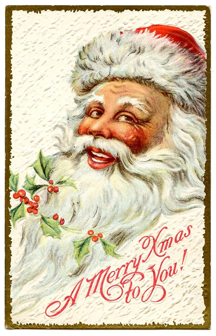 Free printable vintage christmas cards - Vintage Christmas Clip Art Jolly Santa The Graphics Fairy