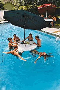 """Floating Pool Bar....I might understand this if there was no umbrella...but apparently, with this invention, you can be in the pool while enjoying the shade and the bar that would normally be for the people NOT in the pool. """"Hey everyone! If we all get IN the pool, and then huddle under the umbrella, it'll be just like if we were NOT in the pool....only...we're still IN the pool!"""""""
