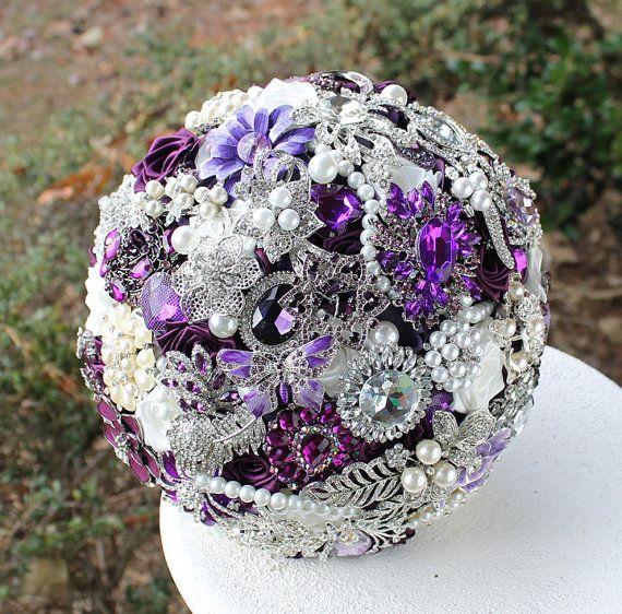 Purple Brooch Bridal Bouquet | Magestic Purple Wedding Brooch Bouquet. Deposit on made to order ...