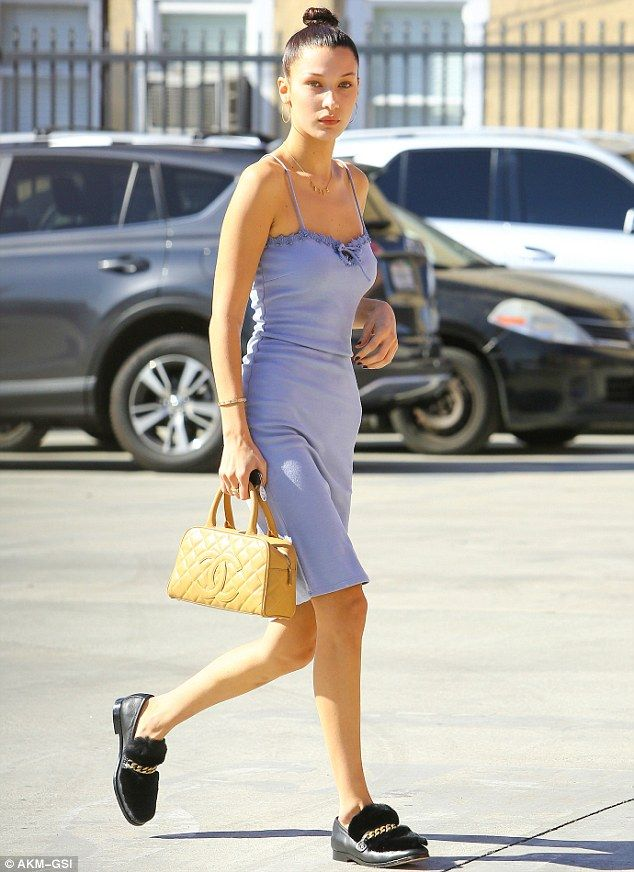 Slender star: Bella Hadid was showing off her slim figure on Wednesday as she headed to a photo shoot in West Hollywood