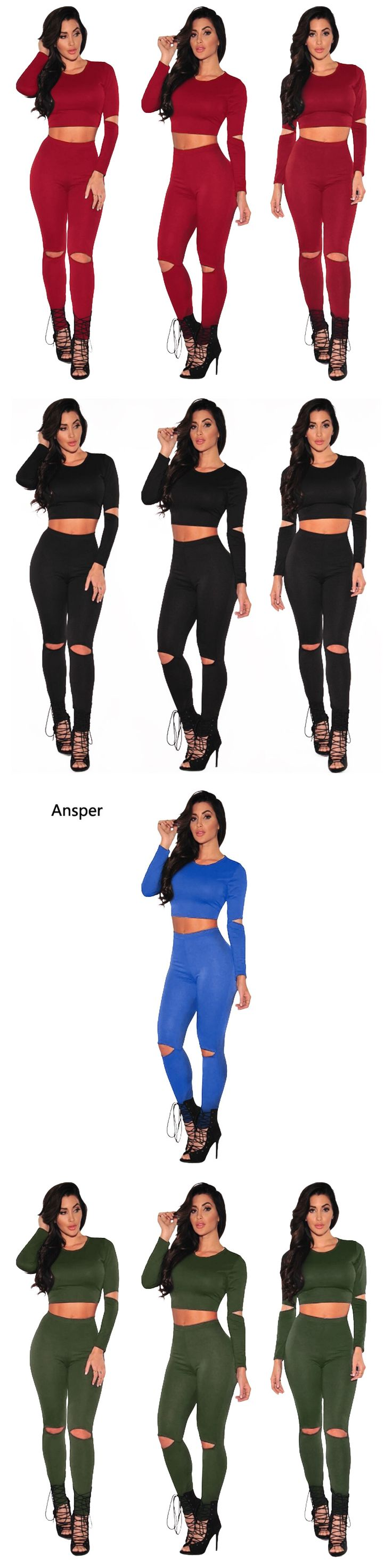2017 Sexy Style 2 Piece Set Women Black Pants and Crop Top Suit Fashion Hollow Out Letter Print Sportswear sporting Tracksuit