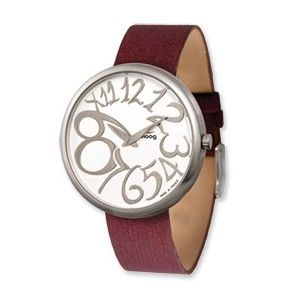 Moog Stainless Steel Round Silver Dial Watch w/(TS-15) Burgundy Band - SalmaWatches.com $209.95