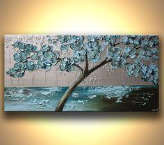 Florece el árbol pintura verde azulado azul plata por OsnatFineArt