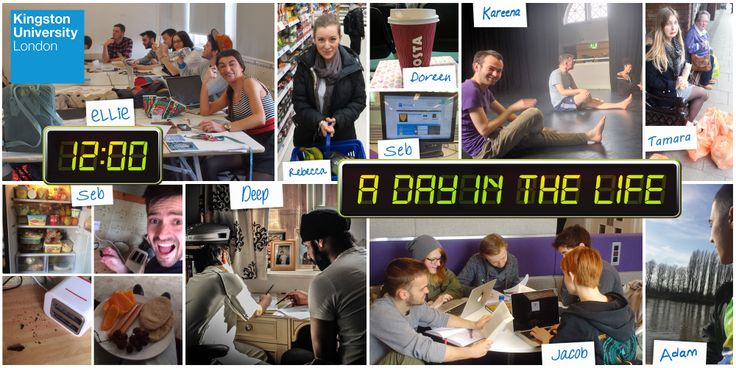 12.00 – Group study session, food shopping, acting class, coffee, lunchtime! Our students share insights into a typical day at Kingston University. #KUdayinthelife