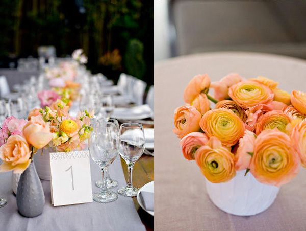 Simple and dainty: Sherbert Colors Flowers, Centerpieces Ranunculus, Pink Sherbet Grey Flowers 1, Wedding Flowers, Colors Schemes, Ranunculus Centerpiece, Orangey Pink, Orange Ranunculus, Colors Ranunculus