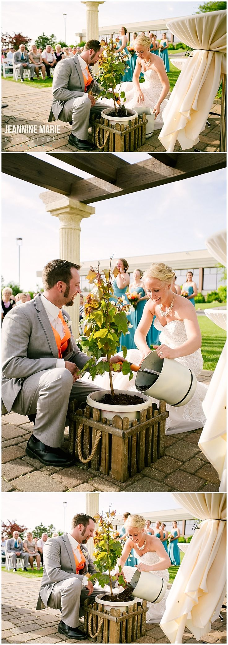 Unique alternative to a unity candle ceremony or sand ceremony; instead, plant a tree! Use soil from two different places (ex: the bride's childhood home and the groom's childhood home) and mix the soil together and plant a tree in a pot at the ceremony! Such a neat alternative!
