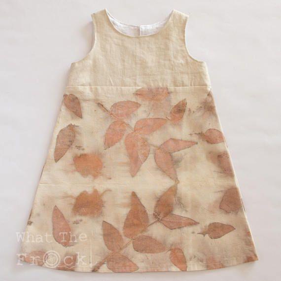 Girls A Line Dress Eco-printed Natural Eucalyptus Classic