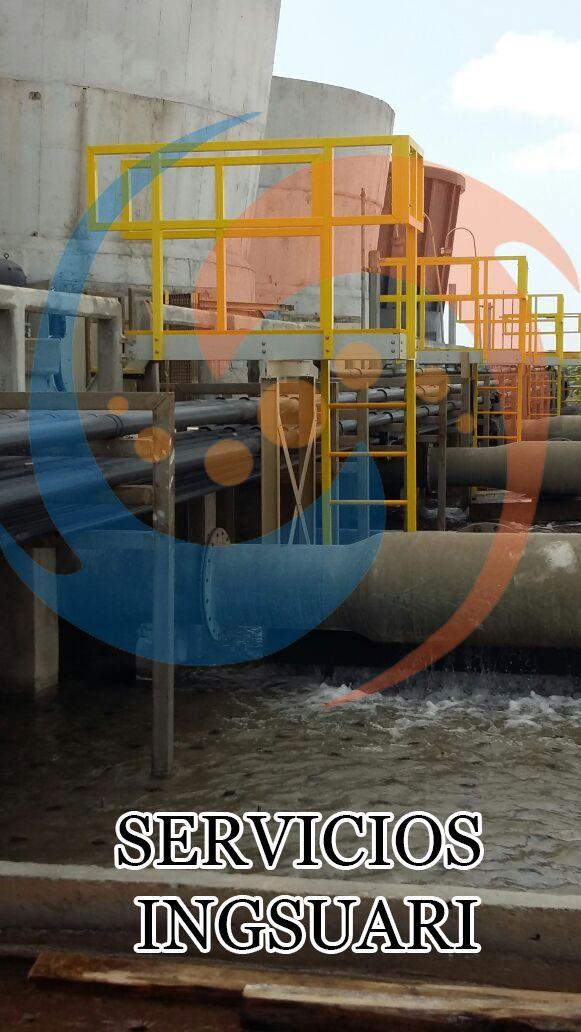 Suministro, habilitado e Instalación de Plataformas de PRFV para bocines de agua caliente en Torre de enfriamiento de Cp. Cangrejera