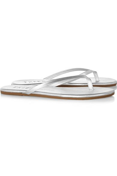 TKEES - Lily Metallic Leather Flip Flops - Silver