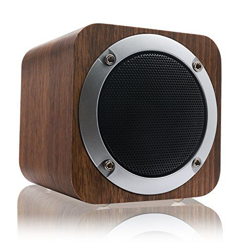 Deals week  LEFON Wood Bluetooth Stereo Speaker Support FM Radio Bluetooth 4.0 AUX TF Card MP3 Player Portable Wireless Speaker Built-in 1800mAh Rechargable Battery for 10-Hours Playtime Suitable for Smartphones Tablets Laptops PC and All Bluetooth Devices. (Black Walnut) Best Selling
