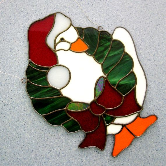 Vintage Stained Glass Christmas Duck Goose Holiday by CinfulOldies