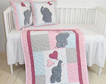 Rosa edredón del bebé, manta de elefante, rosa gris azul cuna ropa de cama, vivero de Safari