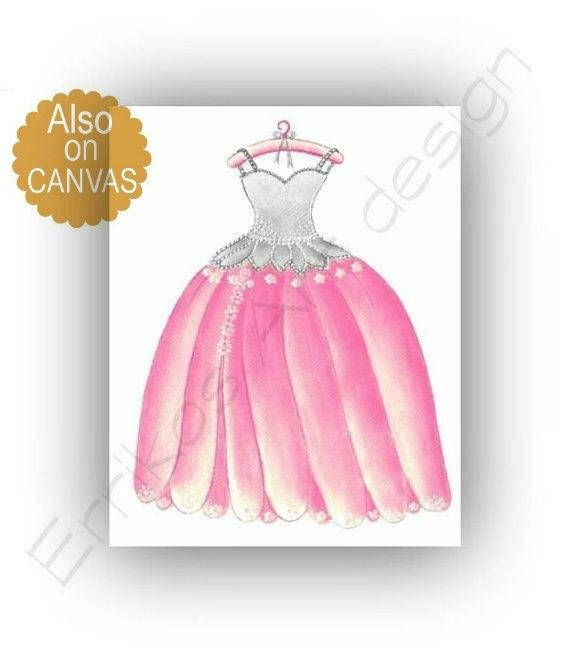 Princess Dress Wall Art Print Princess Decor Girl Nursery