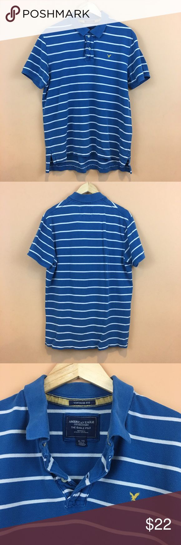 "Men's AEO Striped Polo Shirt Vintage Fit Men's American Eagle The Eagle Polo Striped Vintage Fit Polo Shirt Size XL 100% cotton  Pit to pit 23""  Length 28.5/ 31.5 American Eagle Outfitters Shirts Polos"