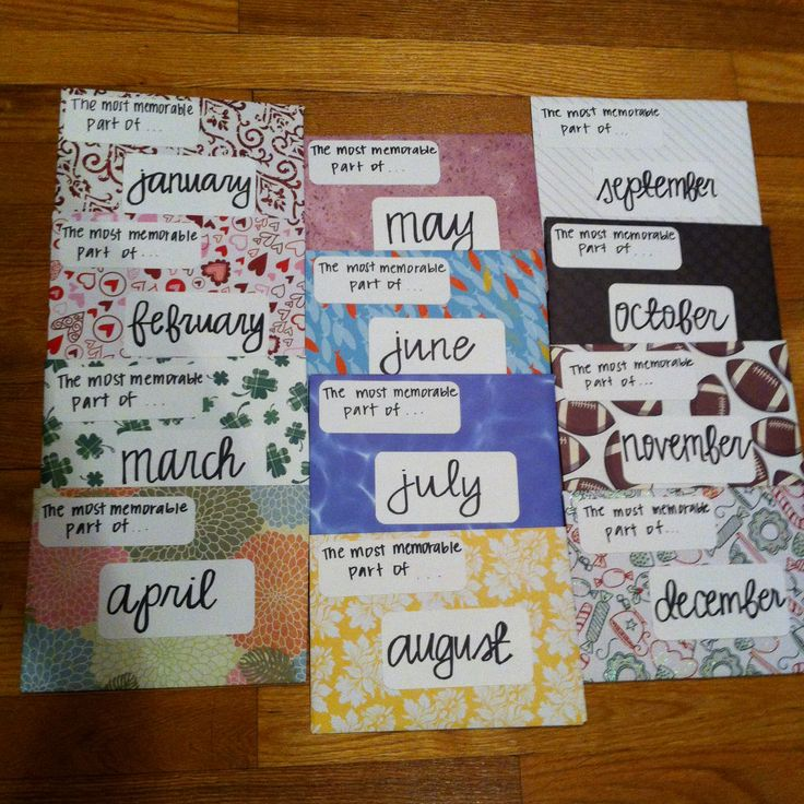 Twelve letters, one for each month of the year. Each letter is filled with a favorite moment from that month