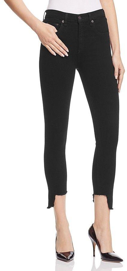 Rag & Bone High Rise Capri Jeans in Black Hampton