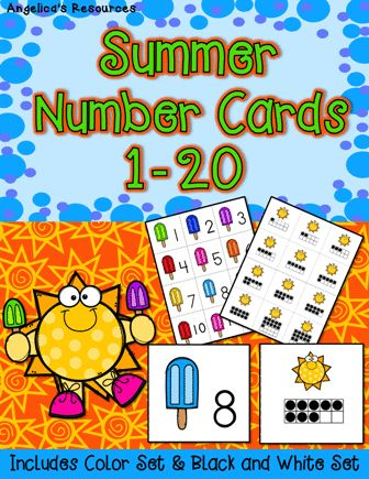 Help the suns find their popsicles and match the numbers to the corresponding ten frames with these... Summer Number Cards • Great for Pocket Charts, Homework, Centers and More. • Quick and easy to use, just copy and cut and you're ready to go! • Includes one set in color and another in black and white.