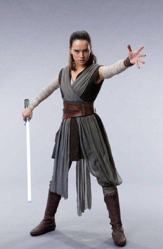 The Last Jedi Rey Complete Cosplay Top Tunic Arm Wraps Pants Tabard Sash Obi Double