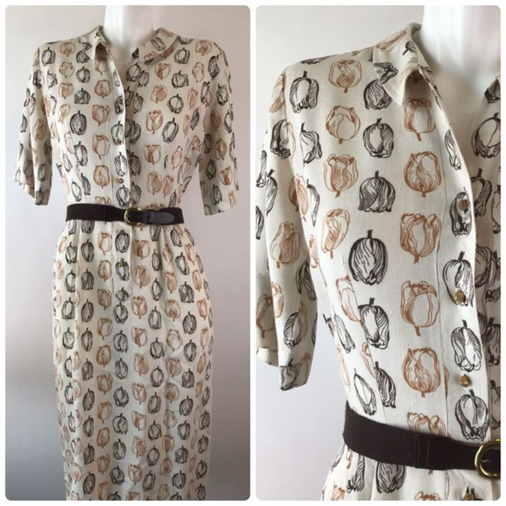Vintage 40s Linen Tulip Print Shirt Dress Belted Beige Brown The Colleger   Clothing, Shoes & Accessories, Vintage, Women's Vintage Clothing   eBay!